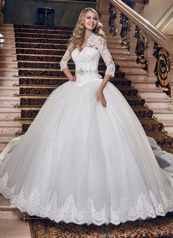 Пышные свадебные платья с рукавом фото