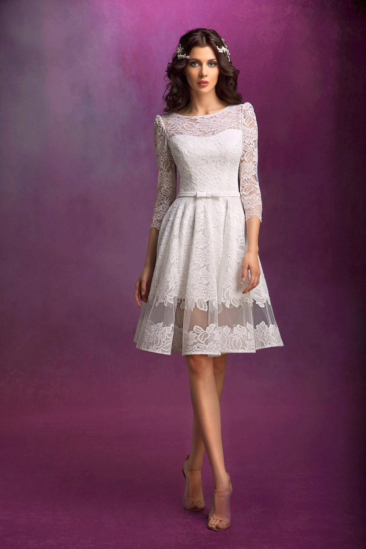 ff41067a9d0 Короткое пышное свадебное платье с рукавами