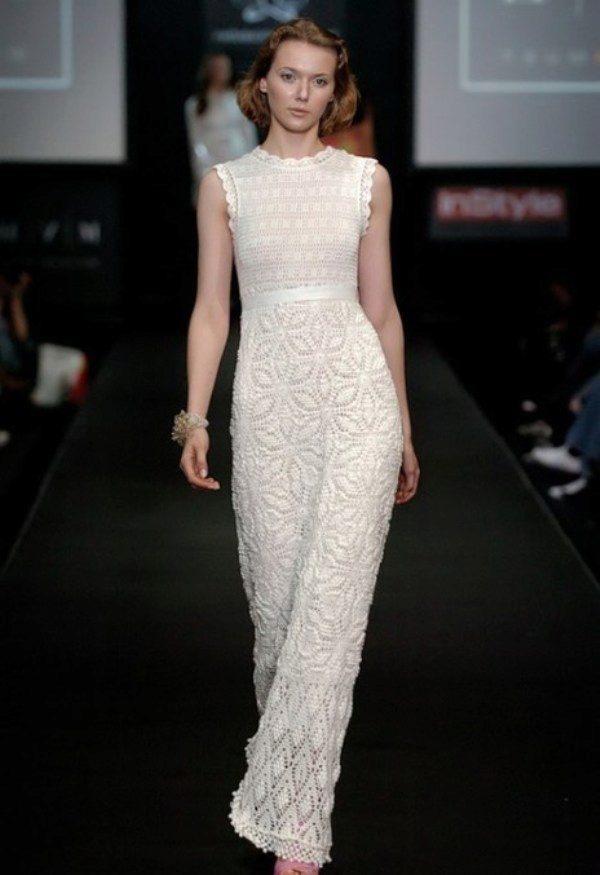 Свадебное платье вязанное