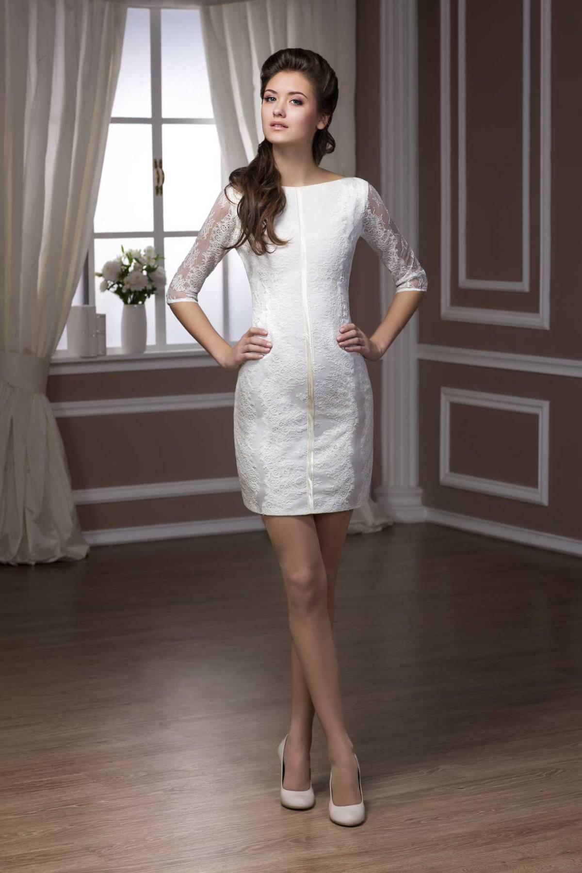 Свадебное короткое платье футляр