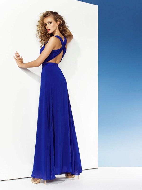 Платье синее с открытой спиной фото