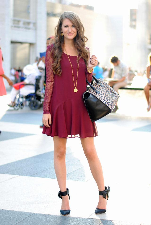 e345570a856f Платье винного цвета  с чем носить, сочетания, туфли, аксессуары и ...
