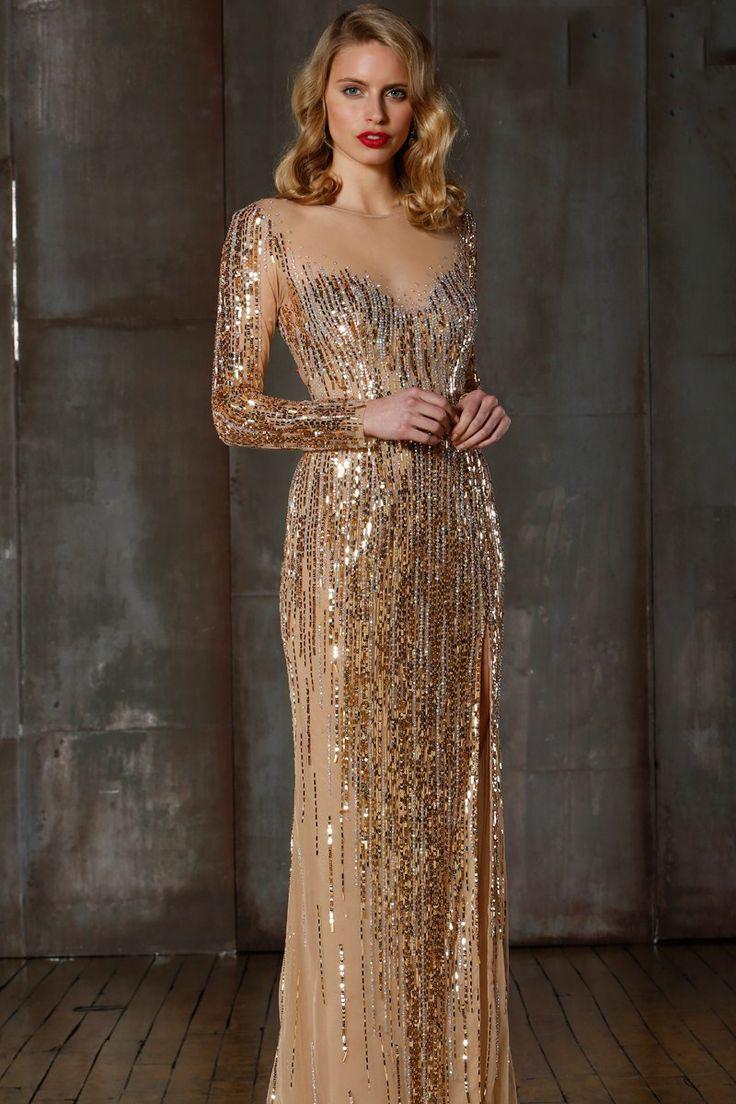 Длинное золотое платье фото