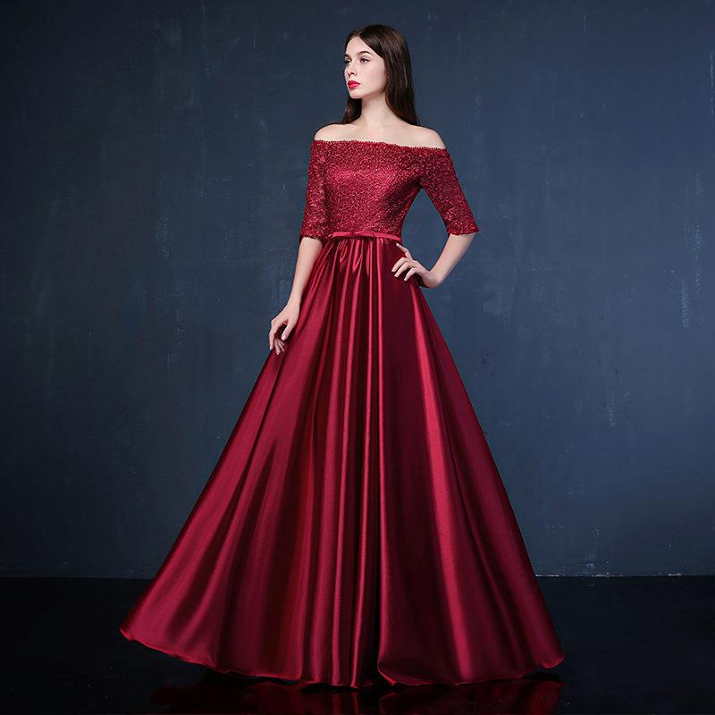 Бордовое вечернее платье фото