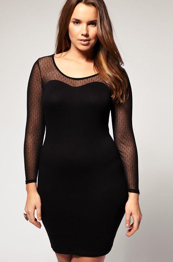 56418995eef4cb5 Черное платье для полных: маленькое черное платье для полных женщин ...