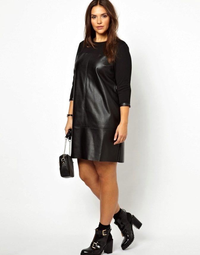 7b91dc87b23 Кожаные платья для полных  платья большого размеры из кожи и с ...