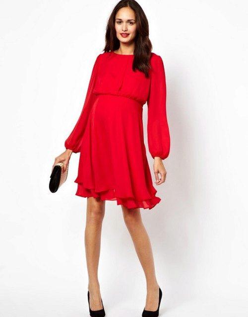 Красное платье для беременных на свадьбу