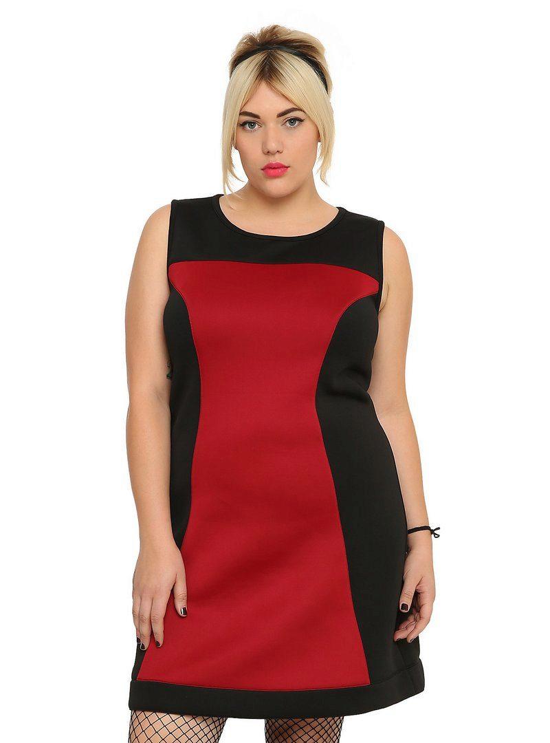 Комбинированное красно-черное платье