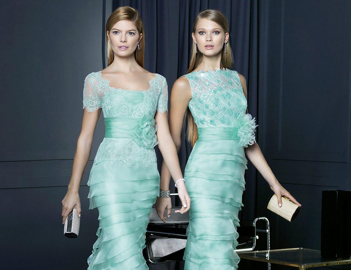 Платья мятного цвета: длинные в пол и короткие, аксессуары и макияж, сочетание с черным, туфли и маникюр 942