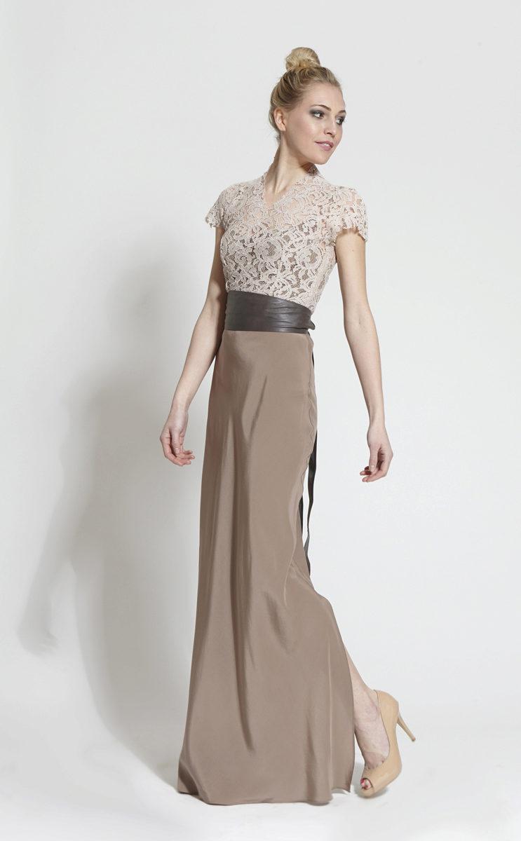 Платье с кружевным верхом и рукавами (петролевый)
