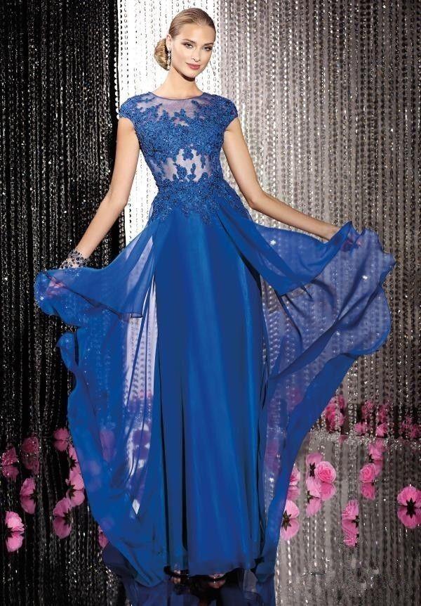 Платья из синего кружева в пол