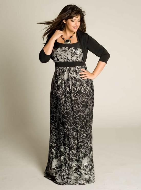 3447b0e1032 Закрытое длинное платье с мелким рисунком для полных женщин