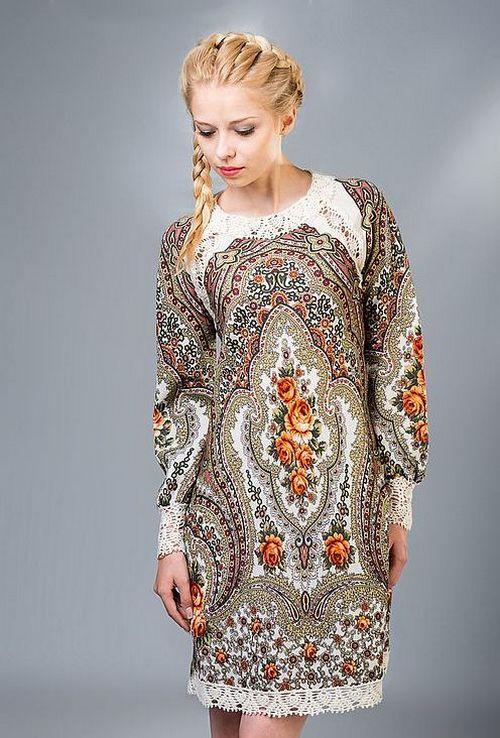 Платья в русском стиле с кружевом