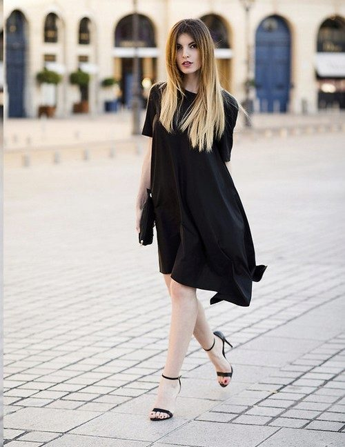 7250605a37f Черное асимметричное трапецевидное платье