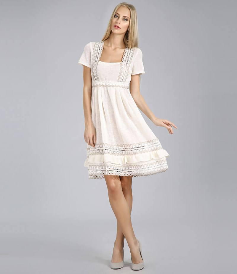 Платье С Шитьем И Кружевом Купить