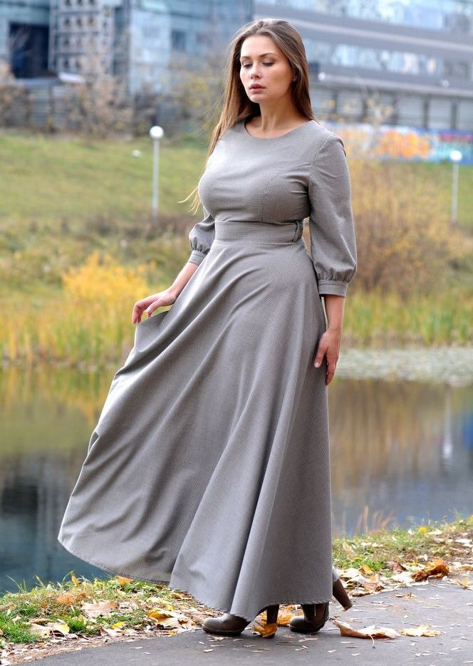 3ac527fd28664e1 Длинное закрытое серое платье А-образного силуэта с длинным рукавом для полных  женщин
