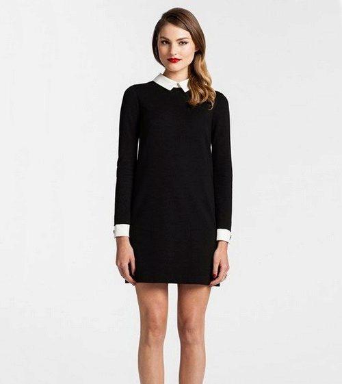 Короткое прямое черное платье с