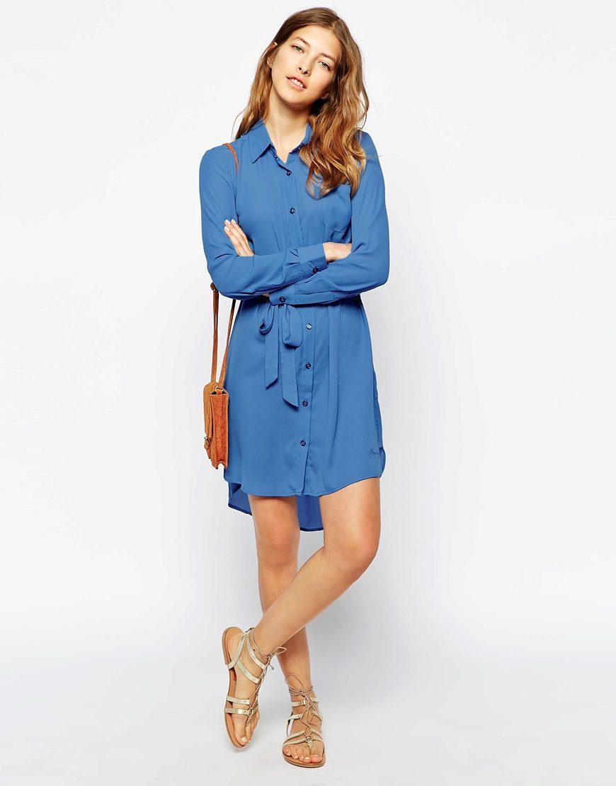Синее платье в белый горошек с чем носить 2