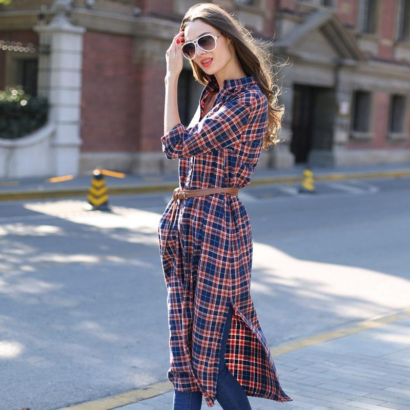 fd383cd0a1d Платье-рубашка в клетку  с чем носить клетчатое платье-рубашку (52 фото)