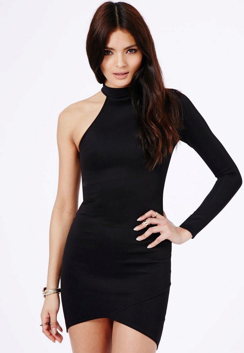 697db17716a Черное платье с одним длинным обтягивающим рукавом