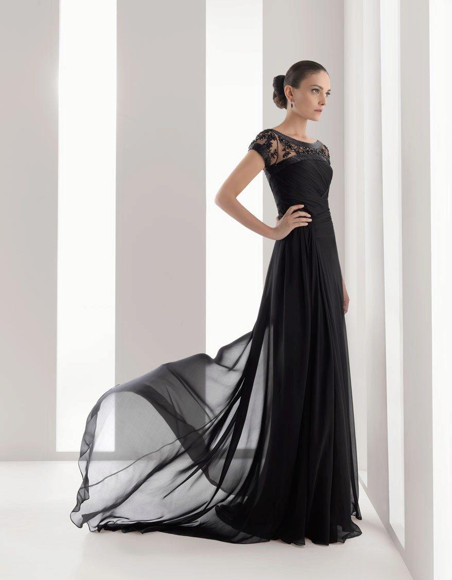 из черное шифона фото вечернее платье