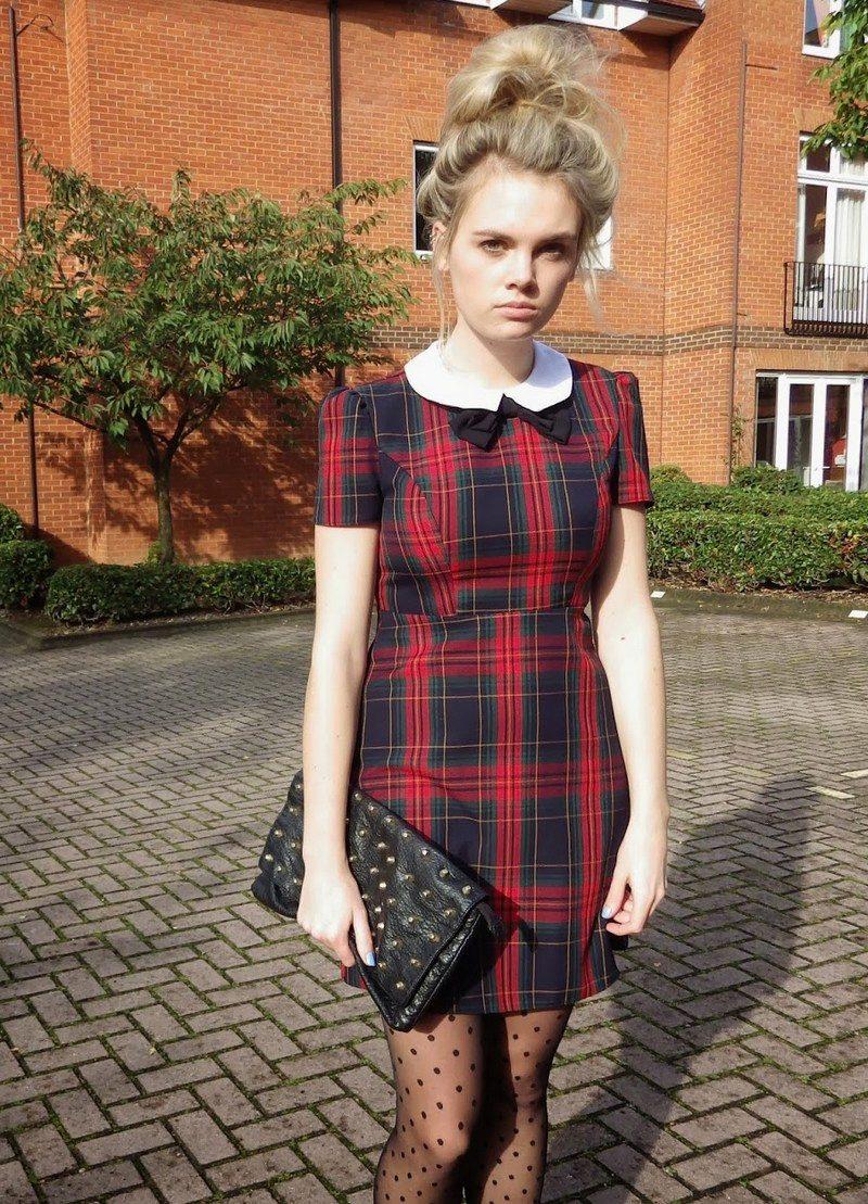 Платье в шотландскую клетку: с чем носить, красное, синее ... Тартан Платье