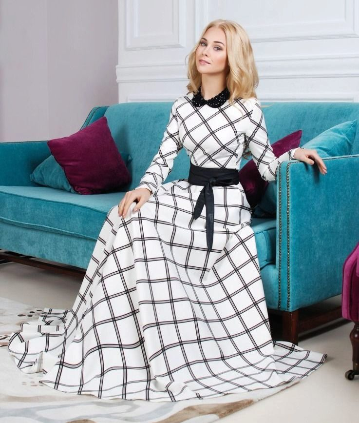 Платье Белое С Черным Воротником