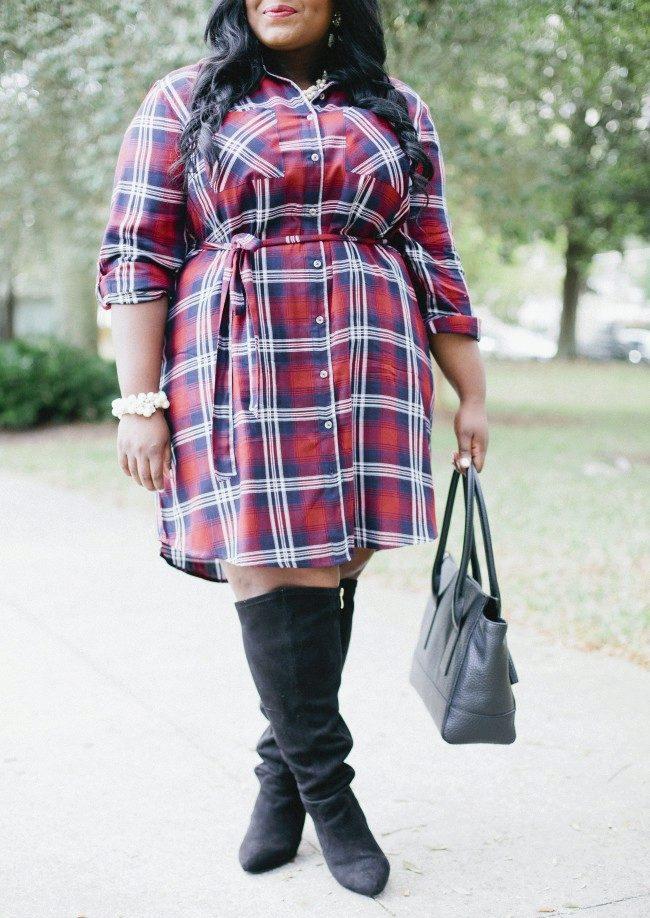39568eee03c Платье рубашка в красную клетку для полных женщин в сочетание с сапогами