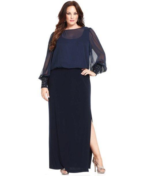 Длинное черное платье для полных