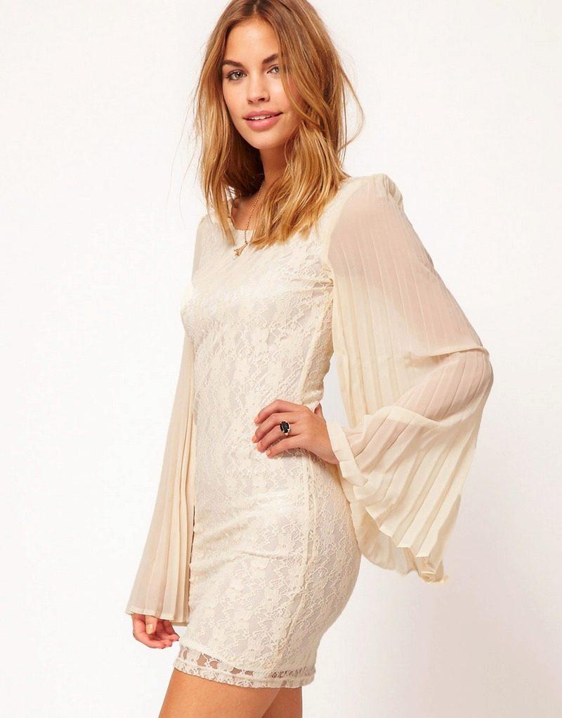 Плиссированное платье с рукавами