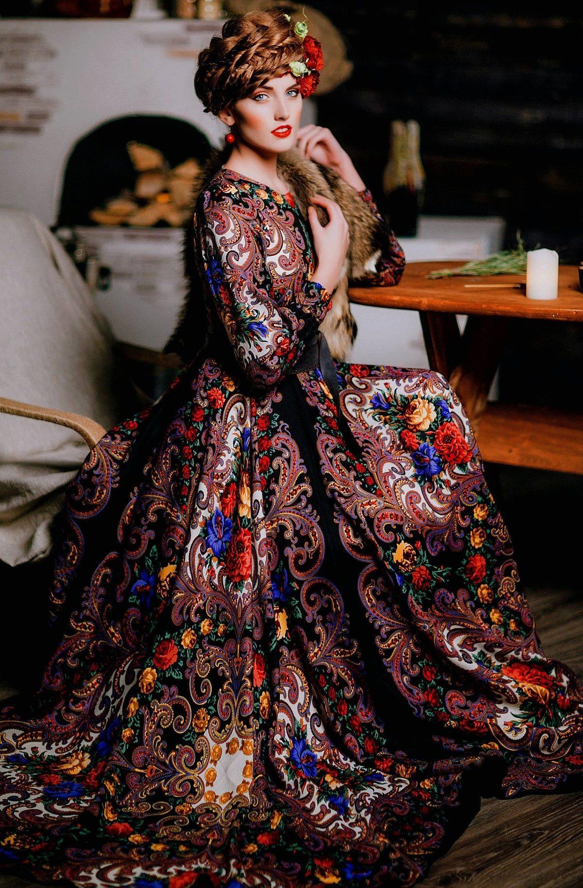 e812ea8fd1e Платье из павлопосадских платков в пол