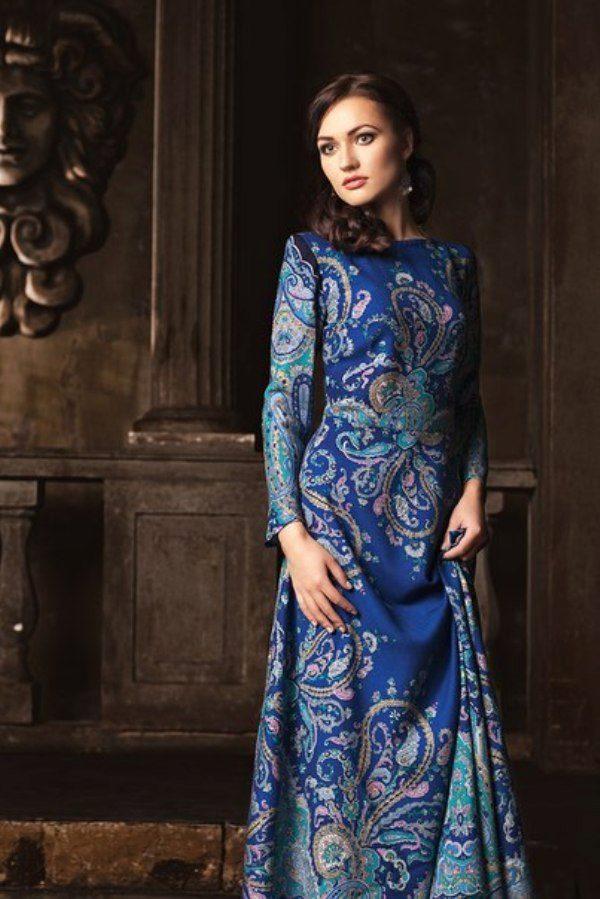 8fbdfcd4a52 Платье из павлопосадских платков синее