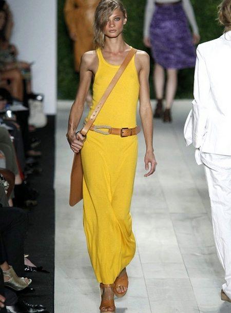 c05e20f8590 Длинное платье-майка желтого цвета