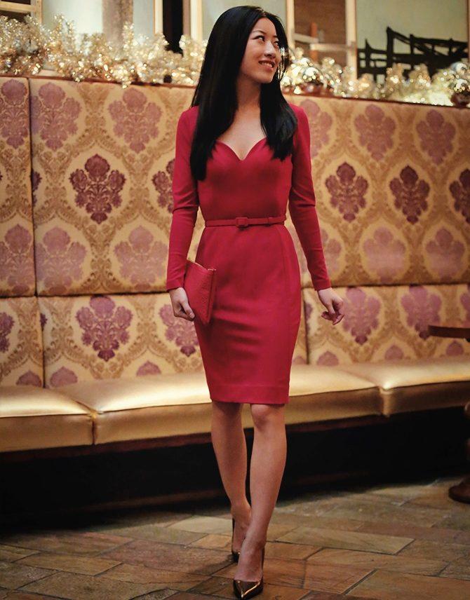 265c06c7380 Бордовое платье с длинным рукавом на корпоратив