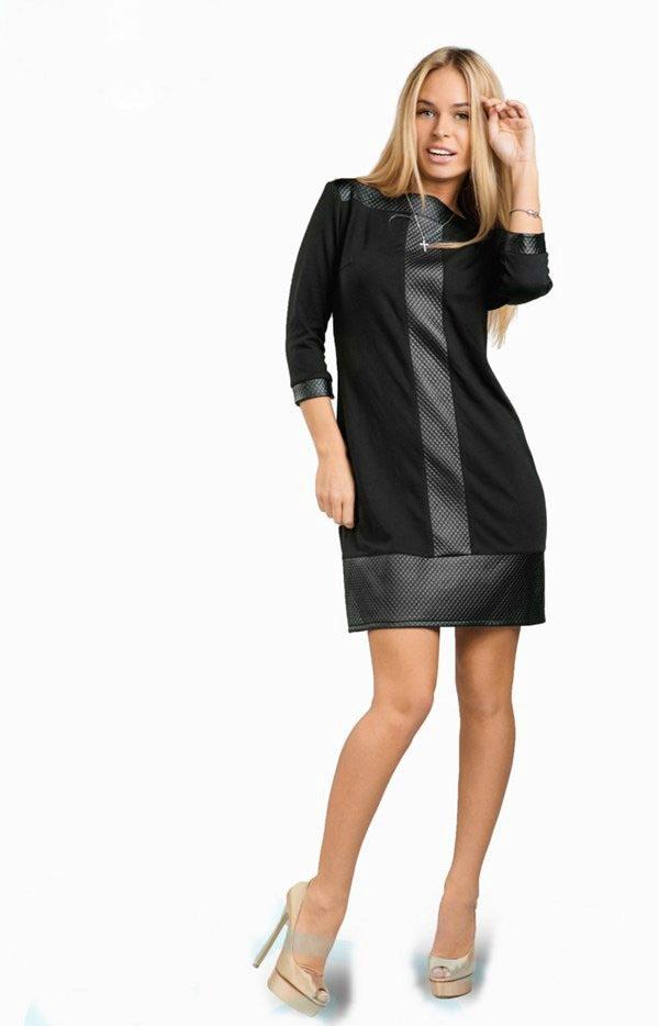 0970e972f63 Платья из экокожи (48 фото)  платье со вставками из экокожи
