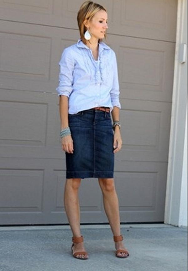 Юбка карандаш джинсовая миди