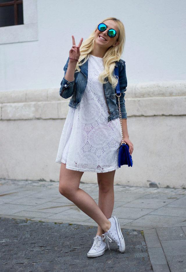 Белое кружевное платье фото с чем носить