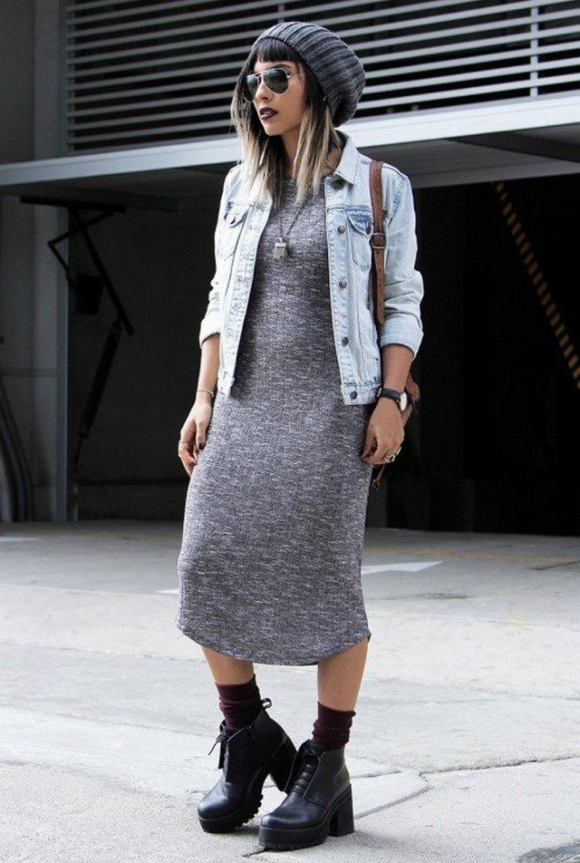 4137f01a098 С чем носить платье-миди (52 фото)  аксессуары под трикотажные и ...