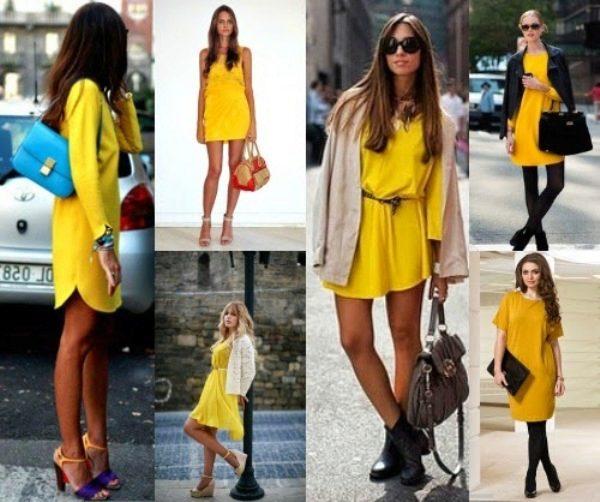 Сочетания с желтым платьем
