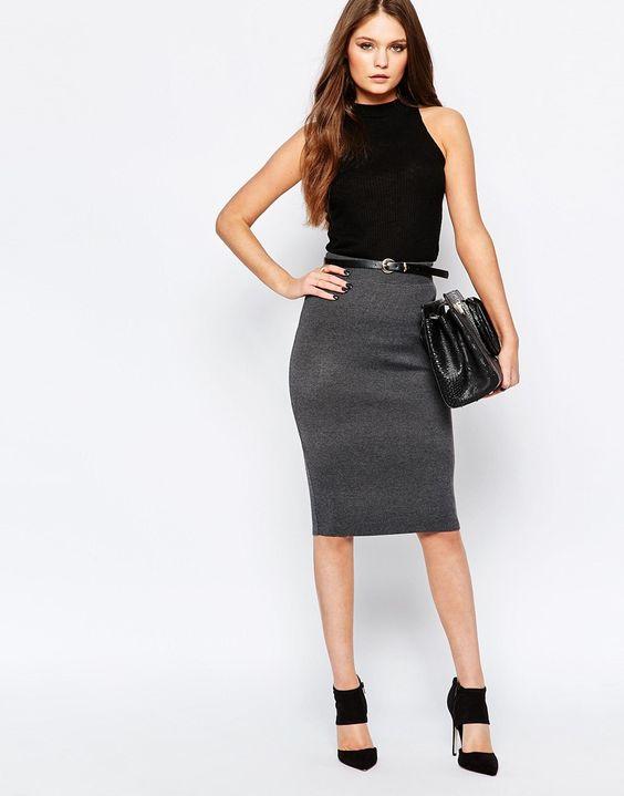 b954eeec5e8 Трикотажная юбка карандаш (32 фото)  с чем носить и как выбрать