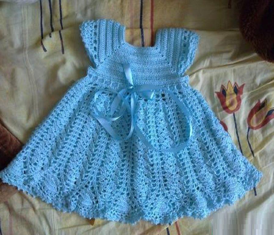 вязаное платье для девочки крючком как связать схемы для девочек 1