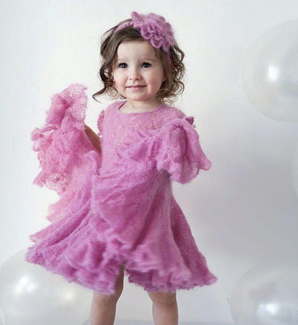 Вязанные платья для девочек