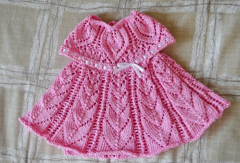 Схема вязаное платье для малышки