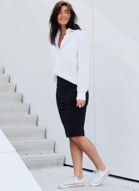 Белая рубашка и юбка карандаш фото