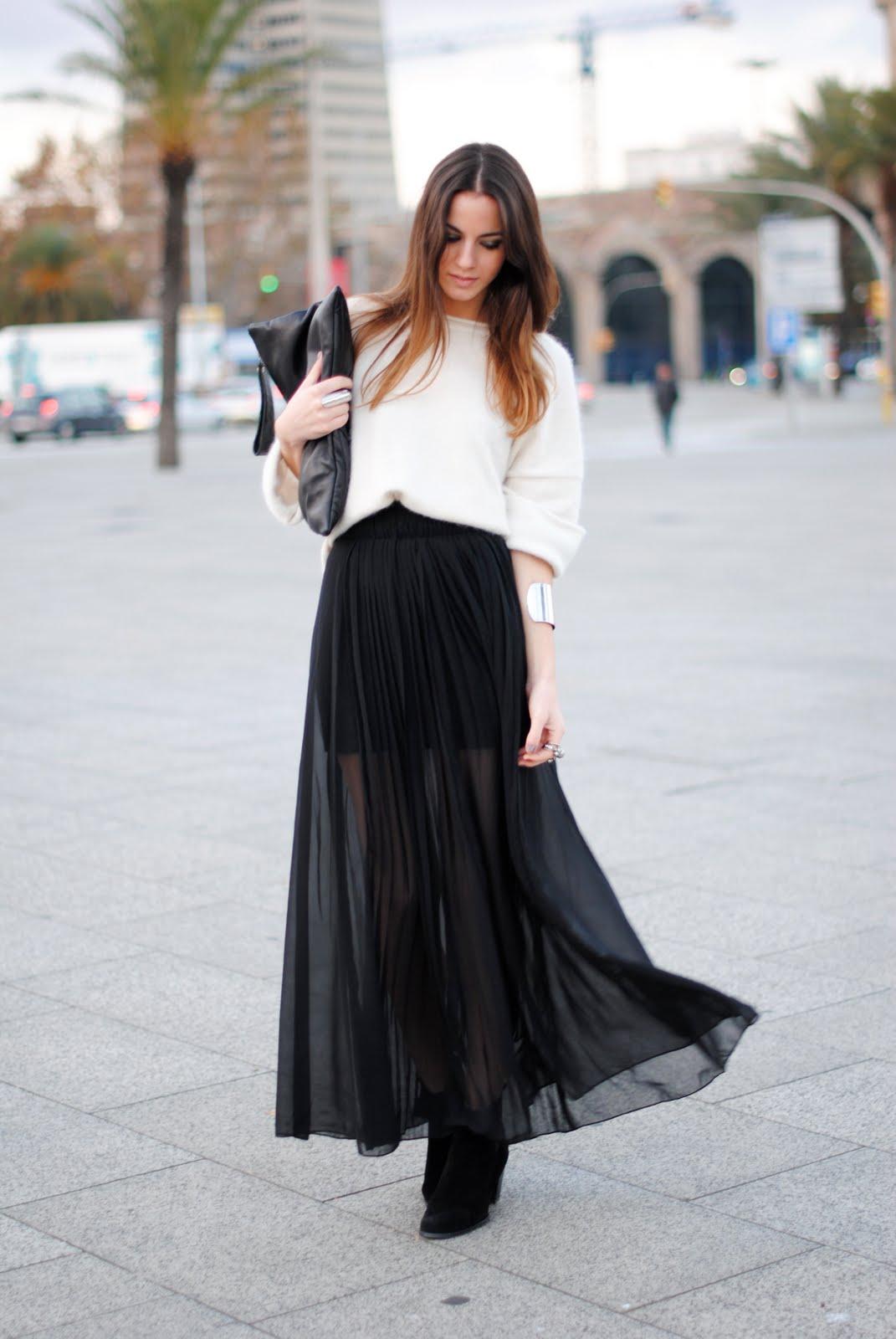 Черная юбка шифон длинная