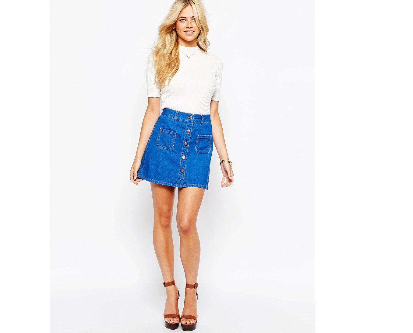 c8725f2a32c Джинсовые юбки (107 фото)  с чем носить