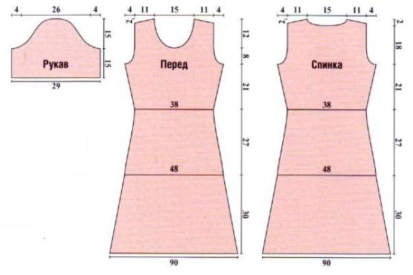 Выкройка трикотажного платья с рукавами А. Корфиати 38