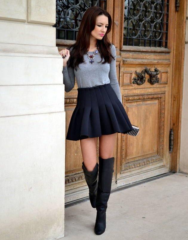 С чем носить черную юбку в складку