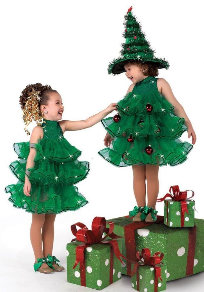 Новогоднее платье для девочки 2 лет Елочка