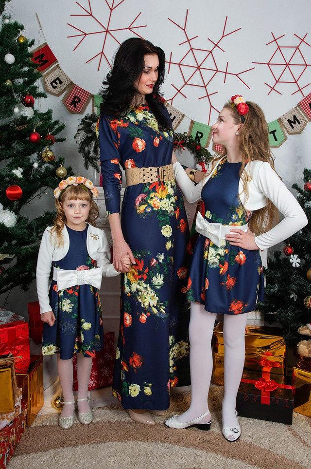 Новогоднее платье для девочки и мамы